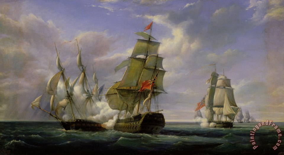 Pierre Julien Gilbert Combat between the French Frigate La Canonniere and the English Vessel The Tremendous Art Print