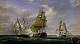 Combat between the French Frigate La Canonniere and the English Vessel The Tremendous by Pierre Julien Gilbert