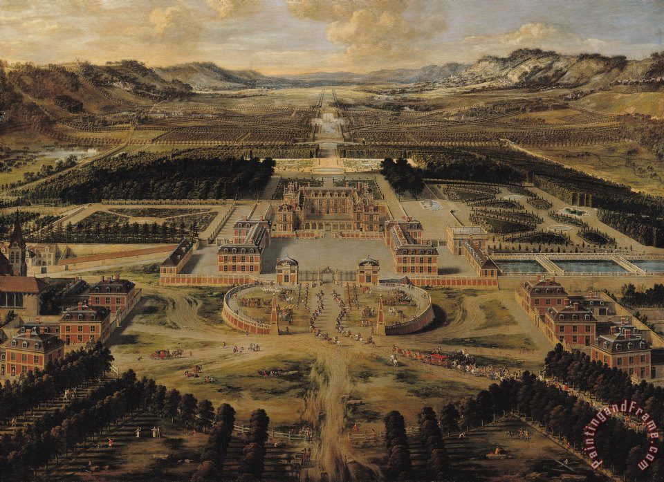 Perspective view of the Chateau Gardens and Park of Versailles painting - Pierre Patel Perspective view of the Chateau Gardens and Park of Versailles Art Print