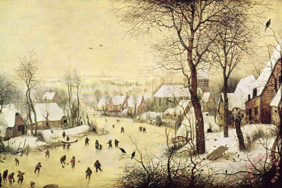 Winter Landscape With Skaters And A Bird Trap painting - Pieter Bruegel the Elder Winter Landscape With Skaters And A Bird Trap Art Print