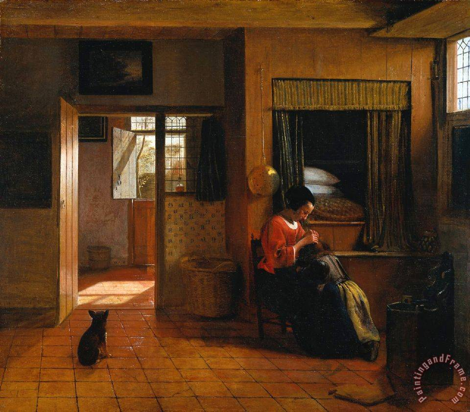 Pieter de Hooch Interior with a Mother Delousing Her Child's Hair, Known As 'a Mother's Duty' Art Painting