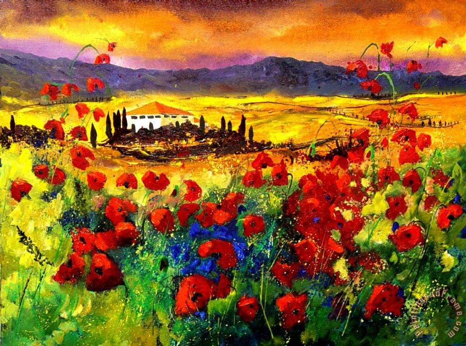 Pol Ledent Tuscany Poppies Art Painting