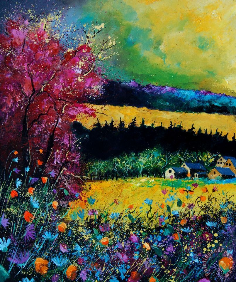 Autumn flowers painting - Pol Ledent Autumn flowers Art Print