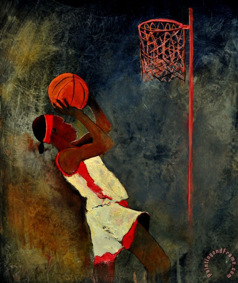Basketball Player painting - Pol Ledent Basketball Player Art Print