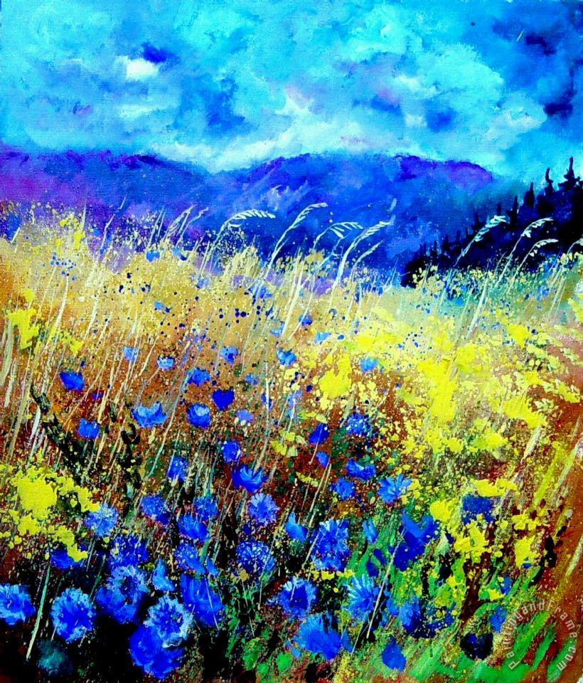 Blue cornflowers 67 painting - Pol Ledent Blue cornflowers 67 Art Print