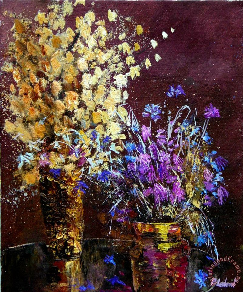 Dried flowers painting - Pol Ledent Dried flowers Art Print