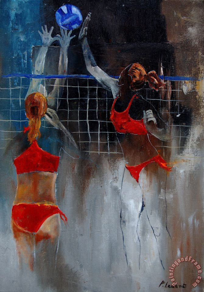 Playing Volley painting - Pol Ledent Playing Volley Art Print