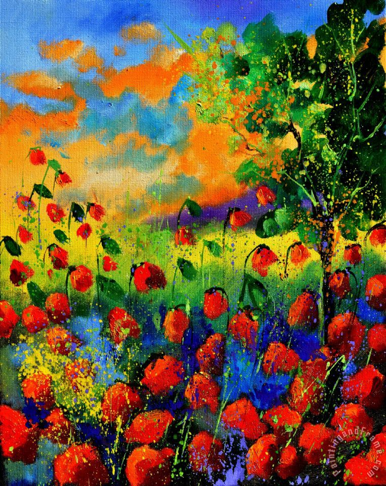Pol ledent red poppies 45150 painting red poppies 45150 for Poster contemporain