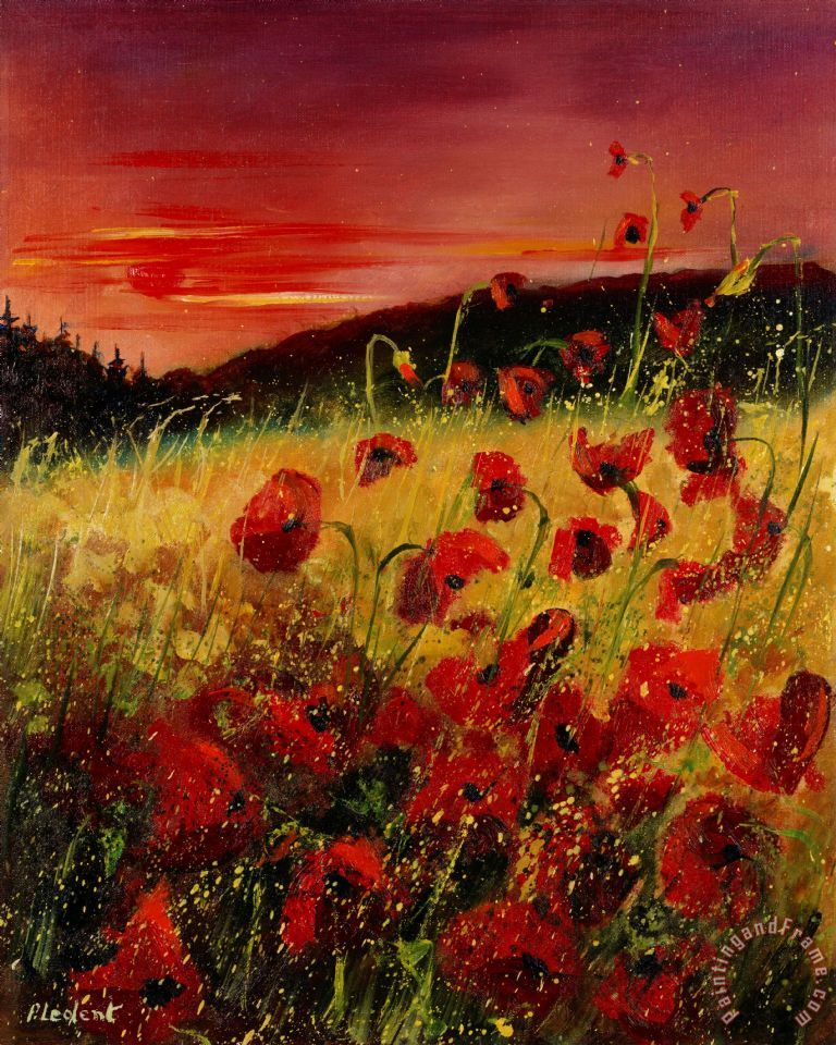 Red poppies and sunset painting - Pol Ledent Red poppies and sunset Art Print