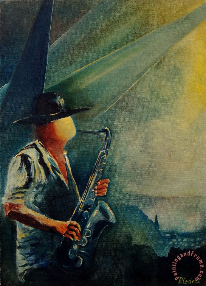 Sax Player painting - Pol Ledent Sax Player Art Print