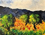Olive trees and poppies by Pol Ledent