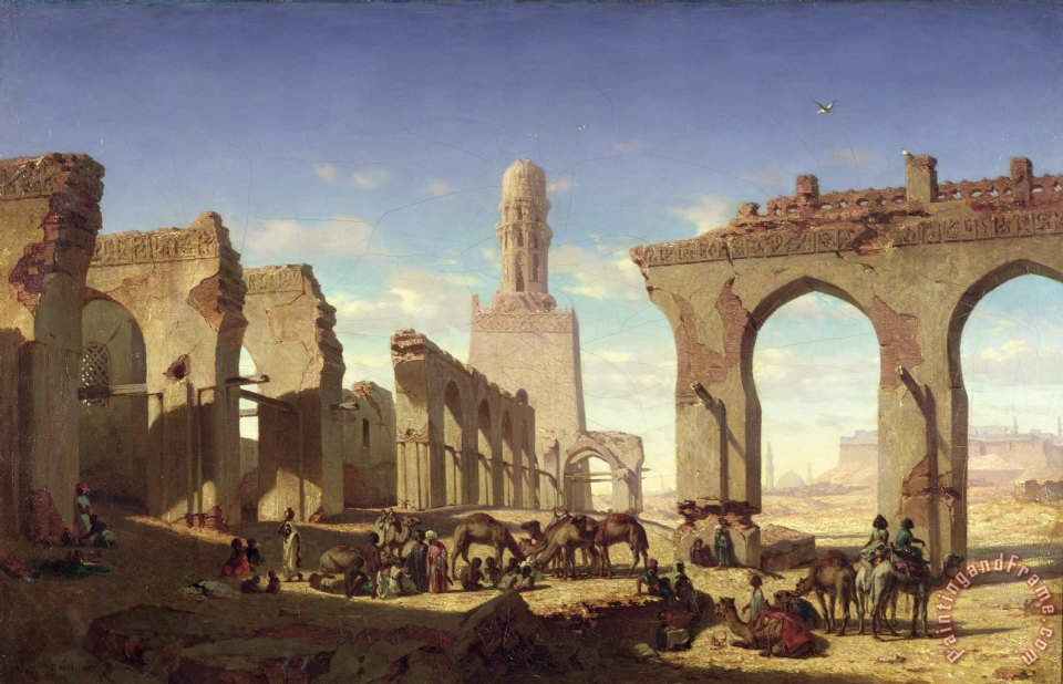 Ruins of the Mosque of the Caliph El Haken in Cairo painting - Prosper Georges Antoine Marilhat Ruins of the Mosque of the Caliph El Haken in Cairo Art Print
