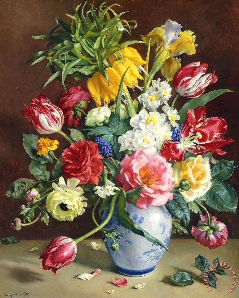 R klausner flowers in a blue and white vase painting flowers in a flowers in a blue and white vase painting r klausner flowers in a blue and altavistaventures Choice Image