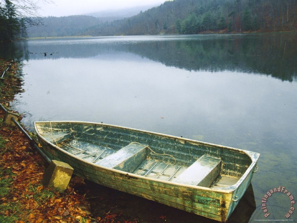 Ideal Raymond Gehman Old Rowboat on The Shore of Douthat Lake in Rain  EU06