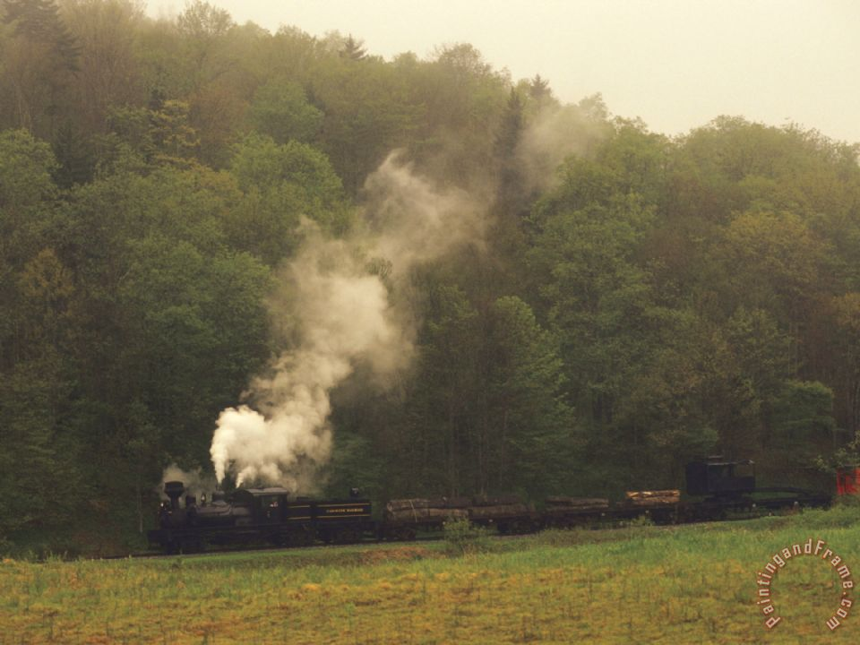 Raymond Gehman Cass Scenic Railroad Running Along The Edge of a Forest Art Painting