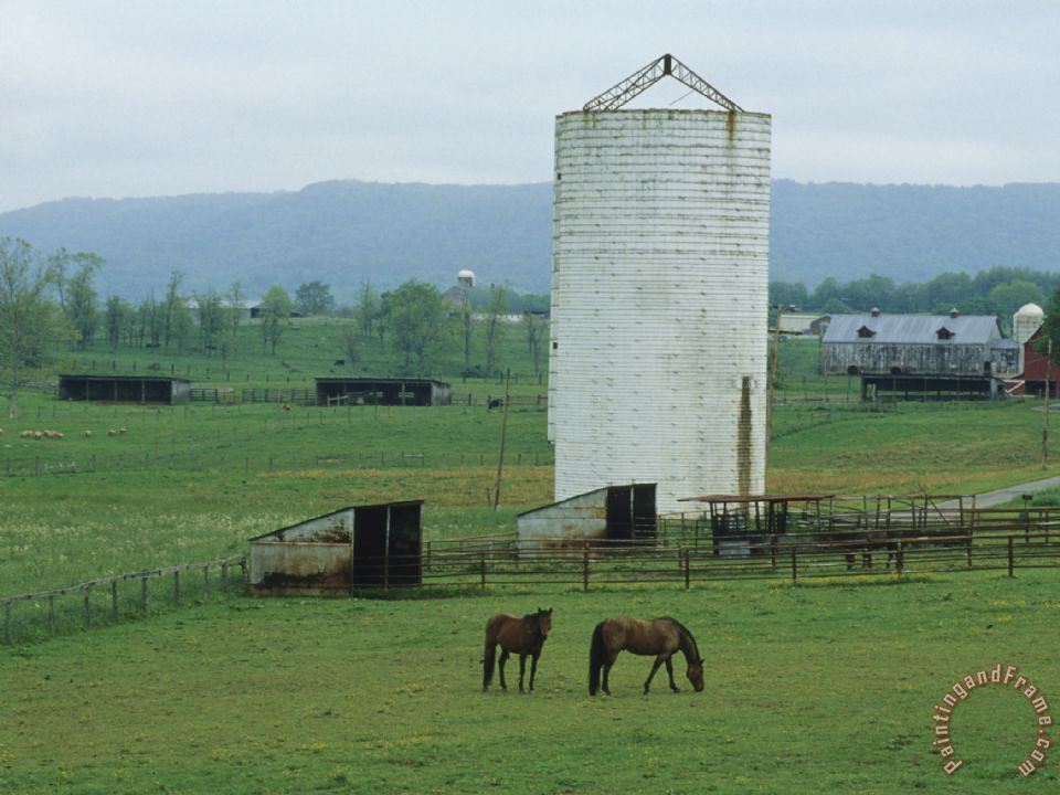 Farm Scene with Horses Grazing in Green Fields Near a Silo painting - Raymond Gehman Farm Scene with Horses Grazing in Green Fields Near a Silo Art Print