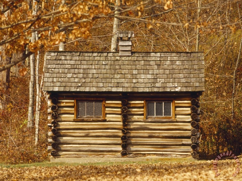 Raymond gehman log cabin in the jefferson national forest for Log cabin painting