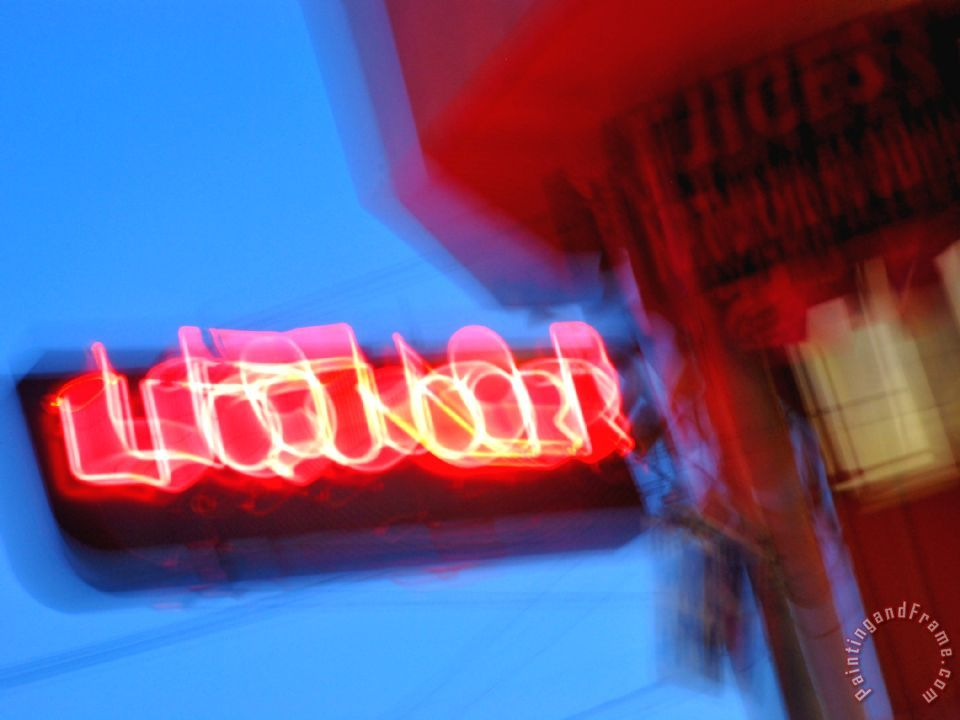 Neon Sign At Twilight Outside A Liquor Store In San Francisco Painting    Raymond Gehman Neon