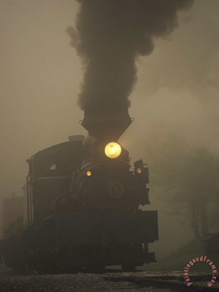 Raymond Gehman Steam Locomotive Belching Smoke On A Foggy