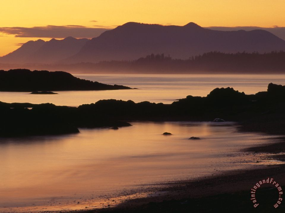 Sunset On The Mountains And Water At Long Beach Vancouver Island Painting Raymond Gehman