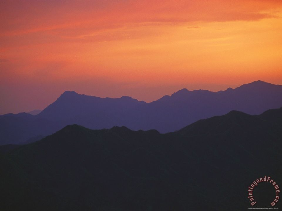 Raymond Gehman Sunset Silhouettes The Mountains Near The Mutinanyu Section Of The Great Wall Painting Sunset Silhouettes The Mountains Near The