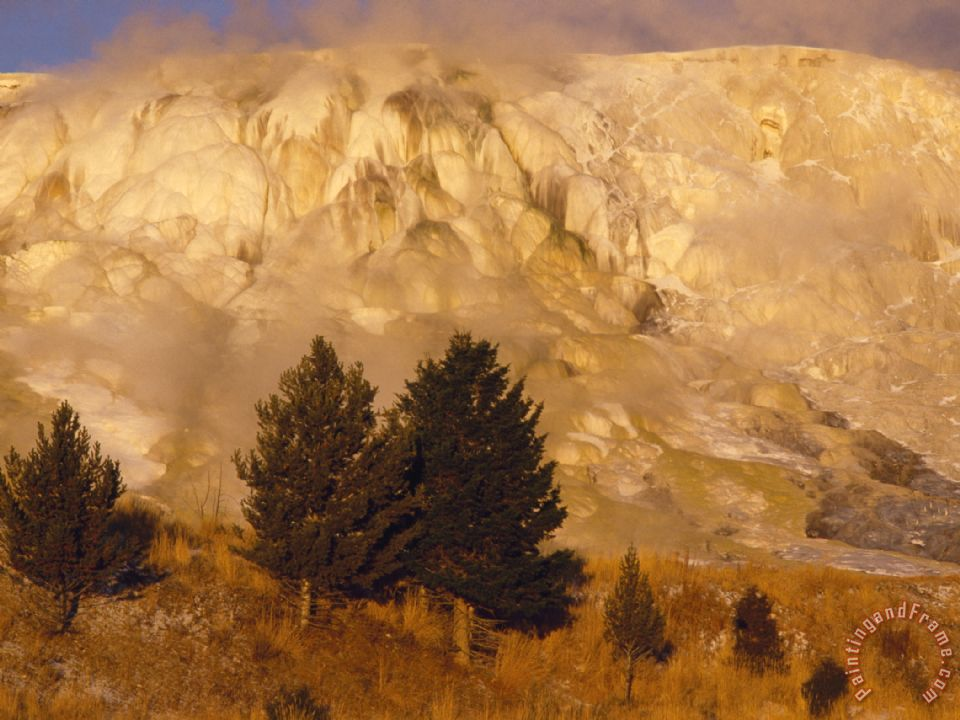 Terraces of Travertine Rim Mammoth Hot Springs in Yellowstone National Park painting - Raymond Gehman Terraces of Travertine Rim Mammoth Hot Springs in Yellowstone National Park Art Print