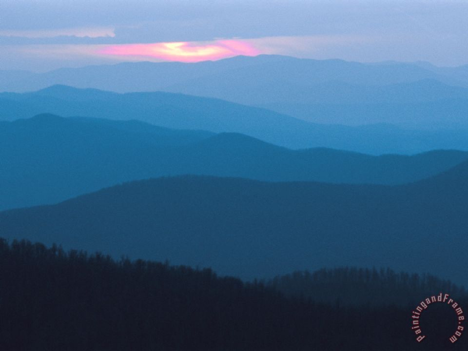 Twilight Covers The Ridges Of Blue Ridge Mountains Painting Raymond Gehman
