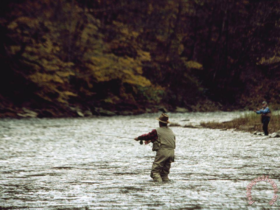 Raymond gehman two men fly fishing in a swift moving river for Swift river fly fishing