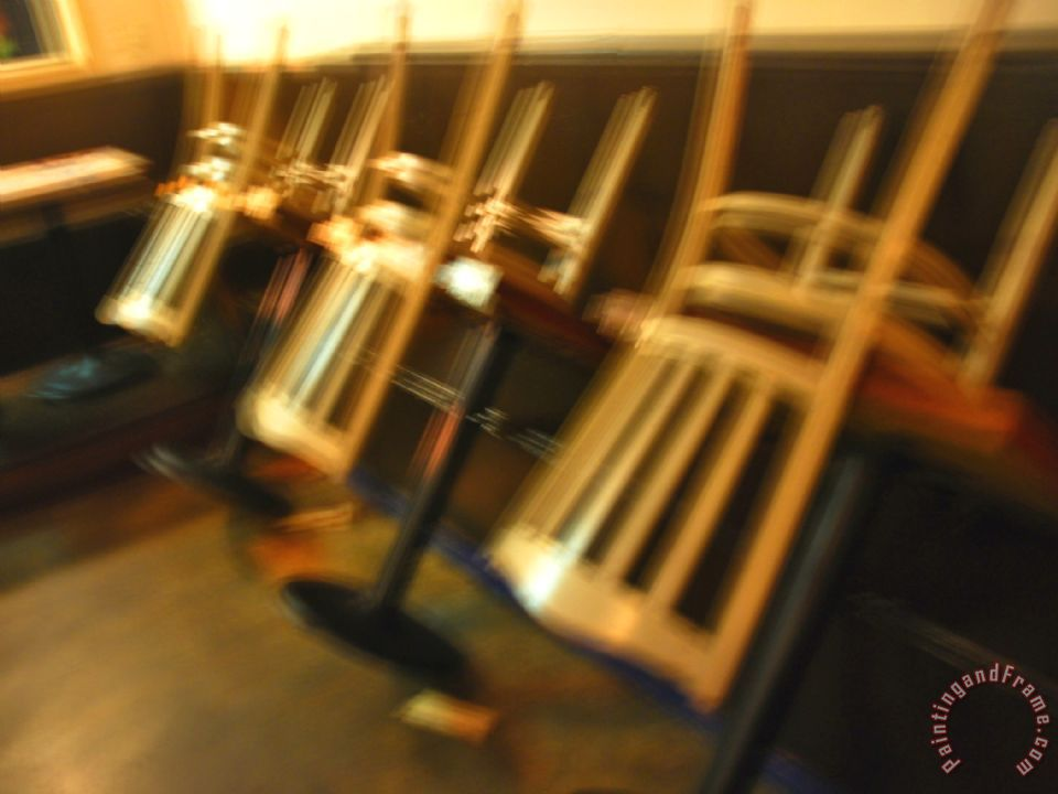 Raymond Gehman Upside Down Chairs In A Closed Restaurant
