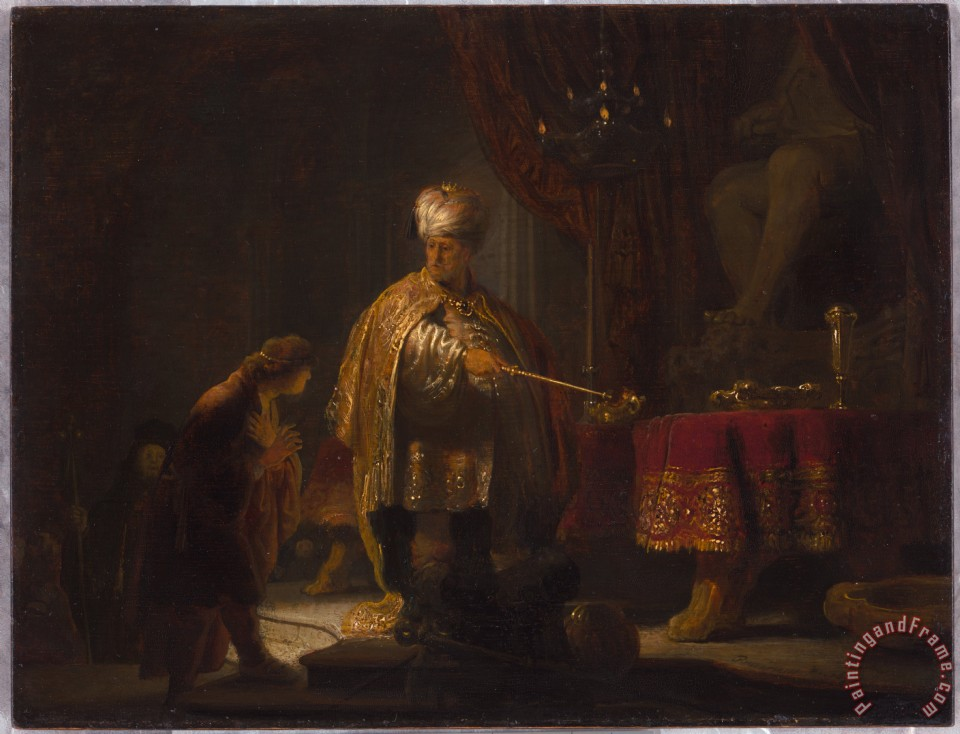 Rembrandt van Rijn Daniel And Cyrus Before The Idol Bel - 1633 Art Print