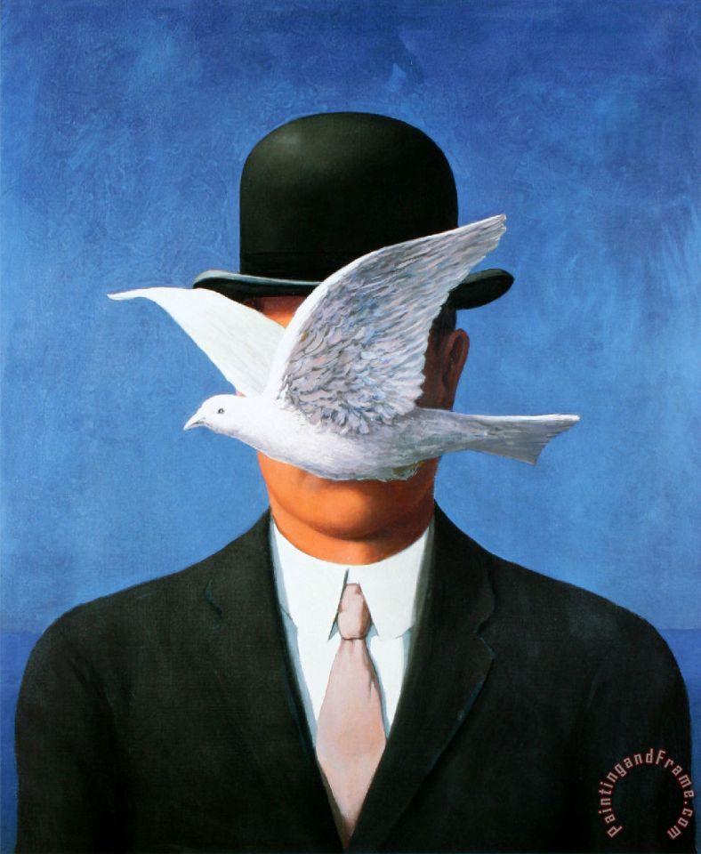 Beach Colors: Rene Magritte L Homme Au Chapeau Melon C 1964 Painting