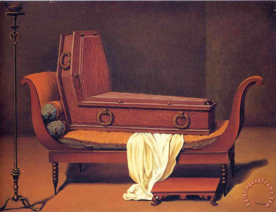 Perspective Madame Recamier by David 1949 painting - rene magritte Perspective Madame Recamier by David 1949 Art Print