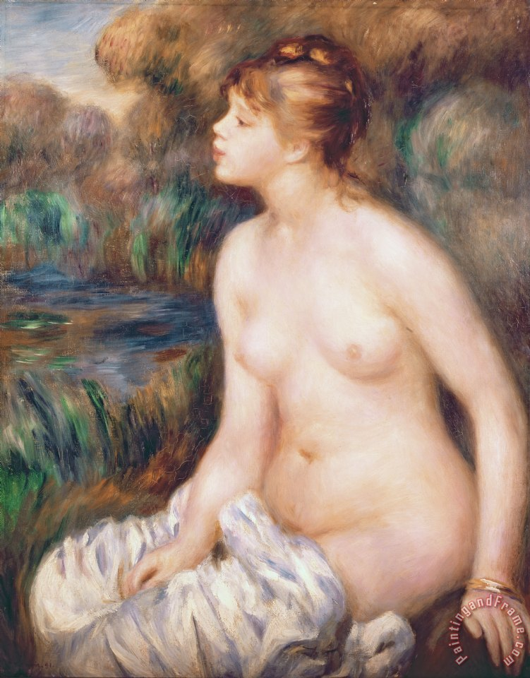 Seated Female Nude painting - Renoir Seated Female Nude Art Print