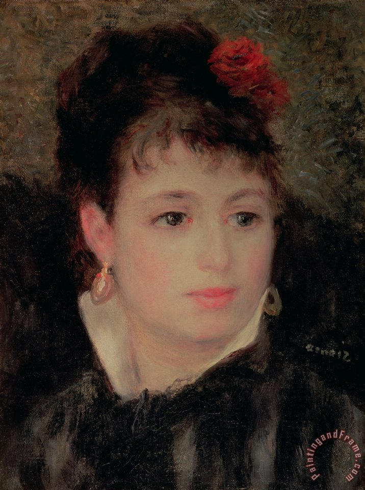 Renoir Woman with a rose in her hair Art Painting