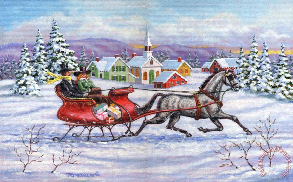 Richard de wolfe home for christmas painting home for for Christmas images paintings