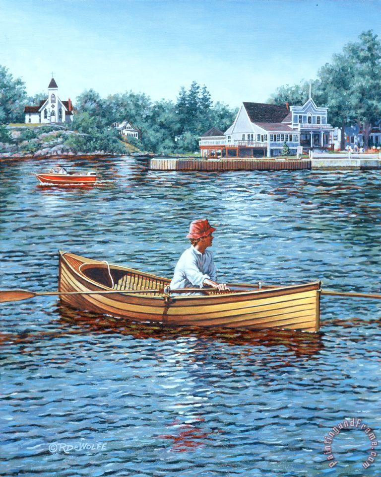 Rowing to Rockport painting - Richard De Wolfe Rowing to Rockport Art Print