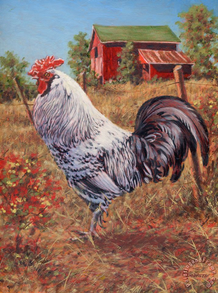 Richard De Wolfe Silver Laced Rock Rooster Painting