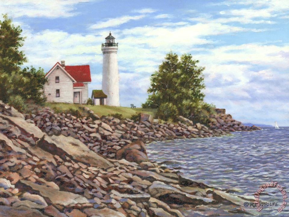 Tibbetts Point Lighthouse painting - Richard De Wolfe Tibbetts Point Lighthouse Art Print