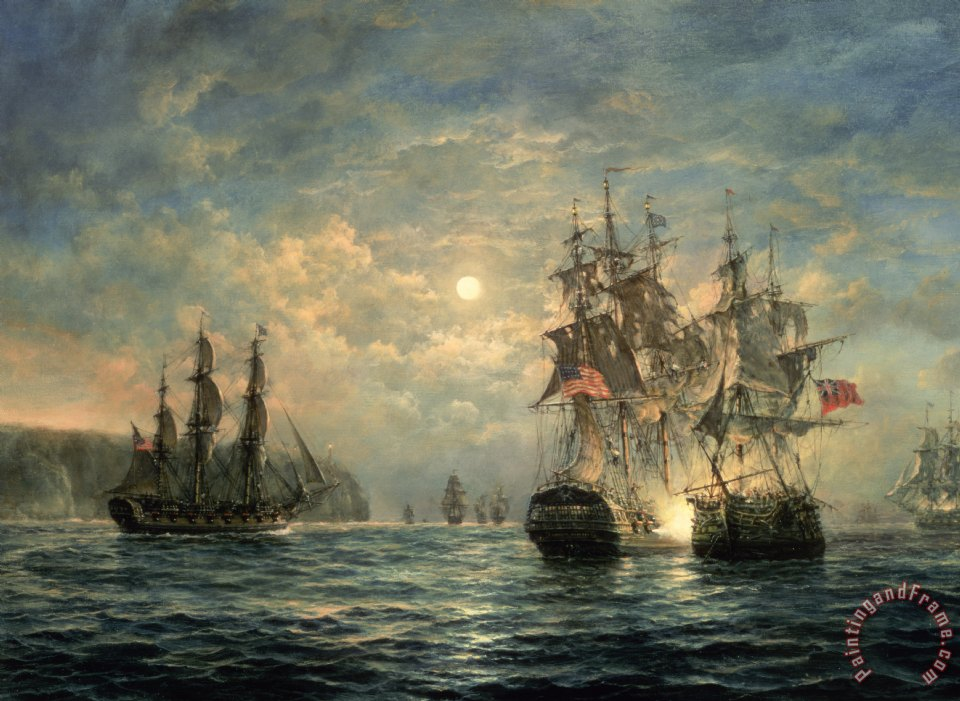 Engagement Between the 'Bonhomme Richard' and the ' Serapis' off Flamborough Head painting - Richard Willis Engagement Between the 'Bonhomme Richard' and the ' Serapis' off Flamborough Head Art Print
