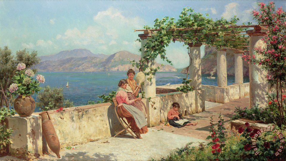 Figures on a Terrace in Capri painting - Robert Alott Figures on a Terrace in Capri Art Print