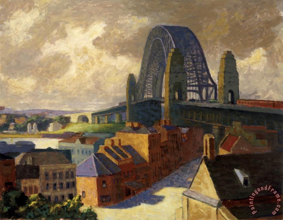 roland wakelin the bridge painting the bridge print for sale. Black Bedroom Furniture Sets. Home Design Ideas