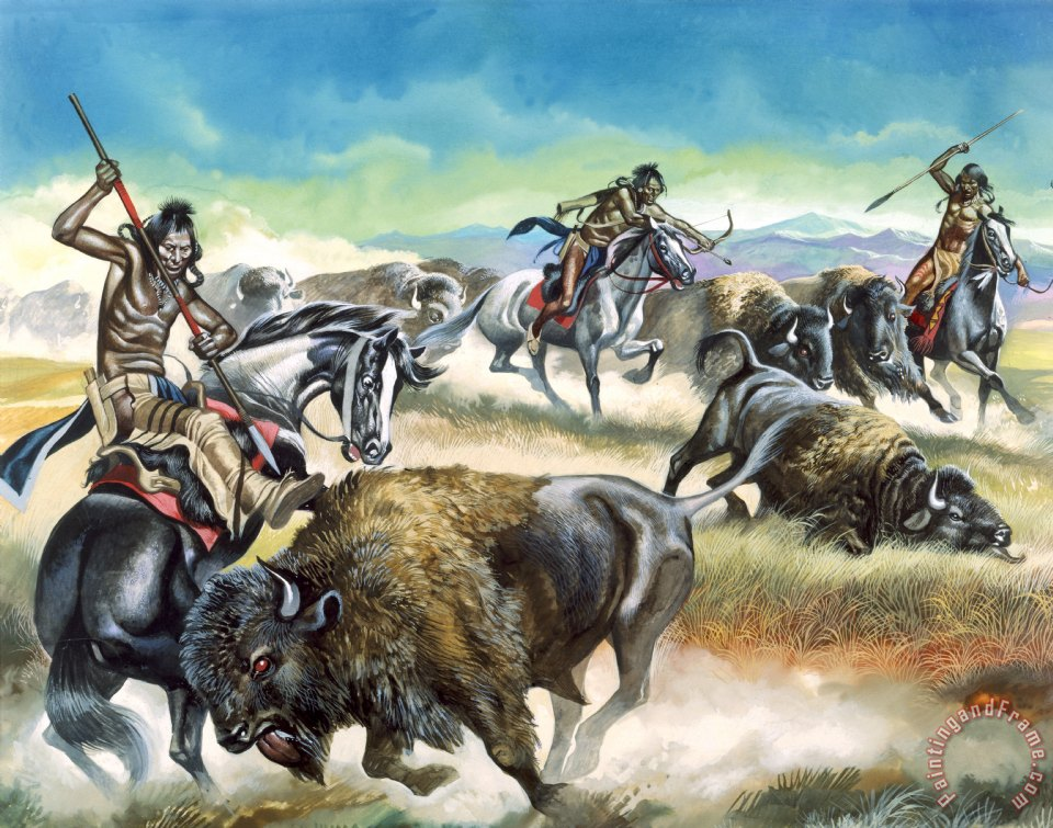 Native American Indians killing American Bison painting - Ron Embleton Native American Indians killing American Bison Art Print