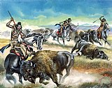 Native American Indians killing American Bison by Ron Embleton