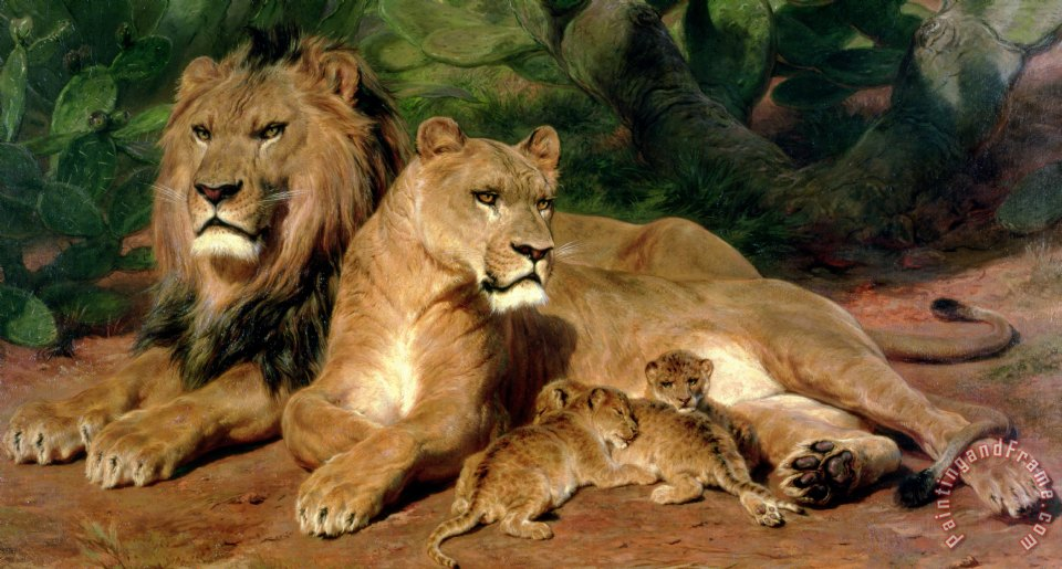 The Lions at Home painting - Rosa Bonheur The Lions at Home Art Print