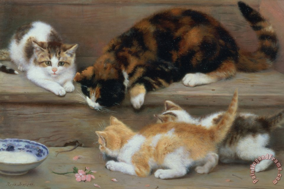 Cat and kittens chasing a mouse painting - Rosa Jameson Cat and kittens chasing a mouse Art Print