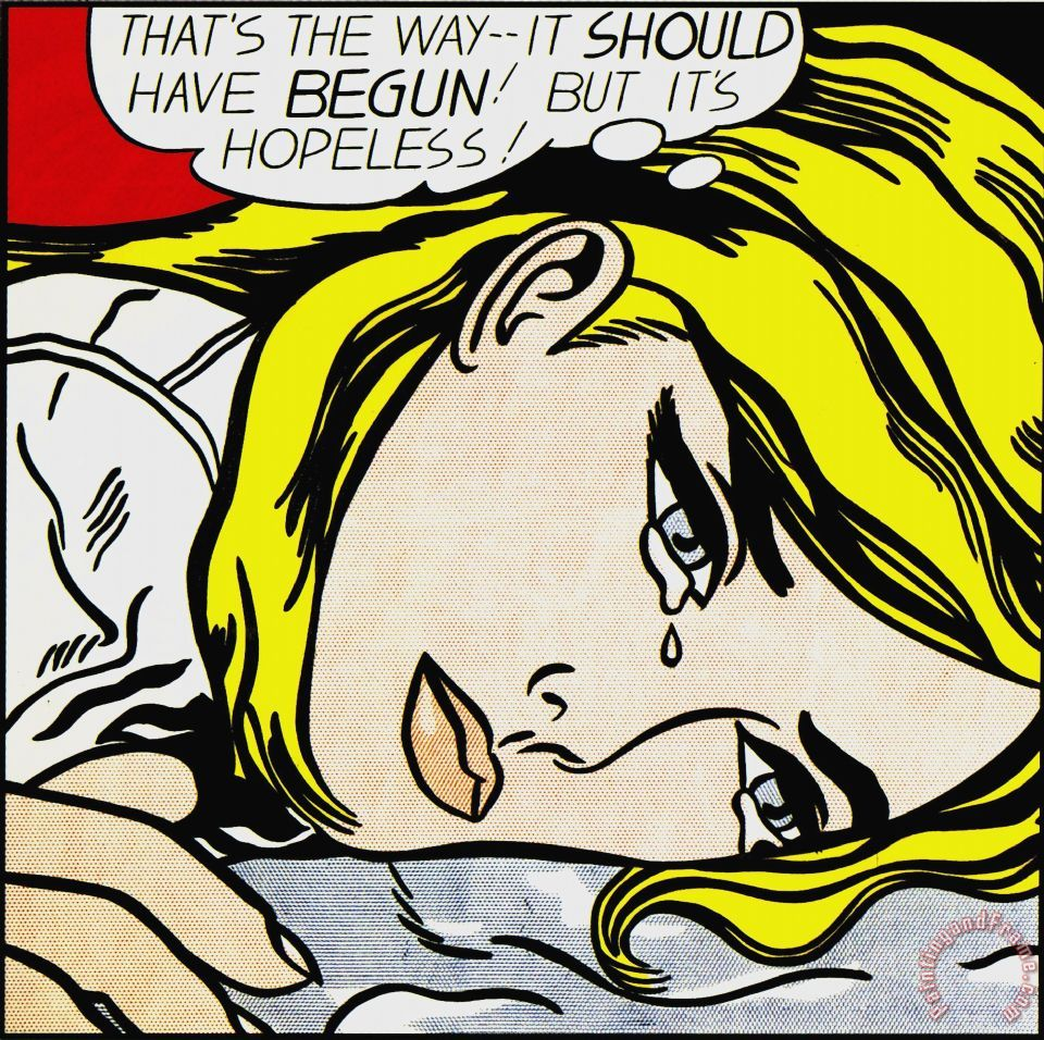 Hopeless painting - Roy Lichtenstein Hopeless Art Print