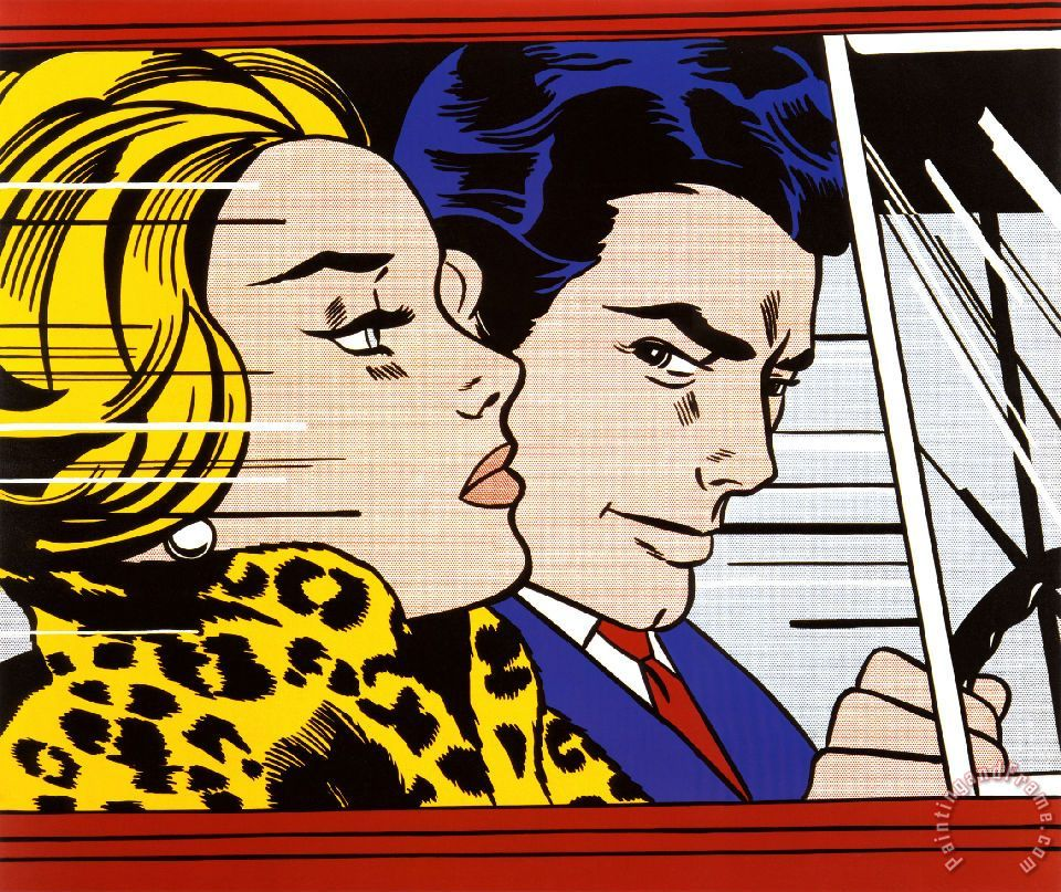 roy lichtenstein in the car 1963 painting in the car 1963 print for sale. Black Bedroom Furniture Sets. Home Design Ideas