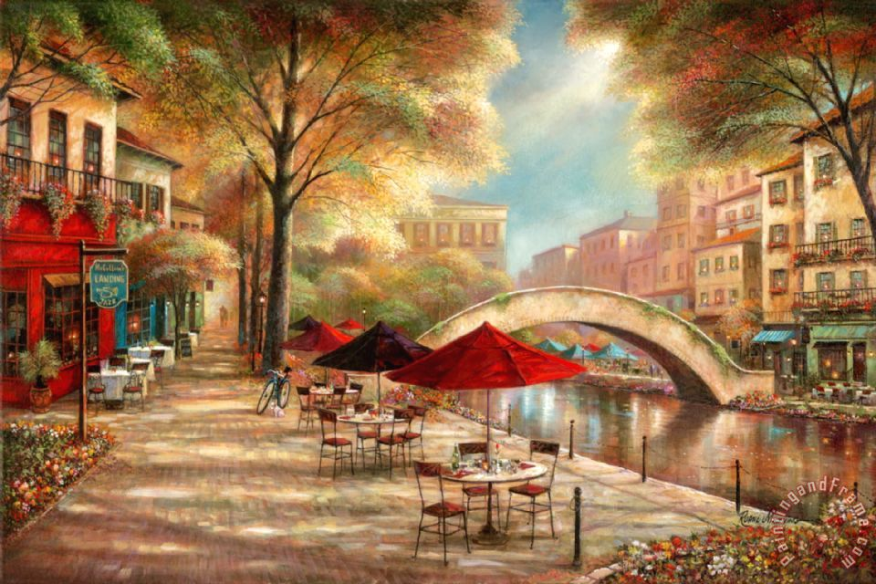 Ruane Manning Riverwalk Cafe Art Print