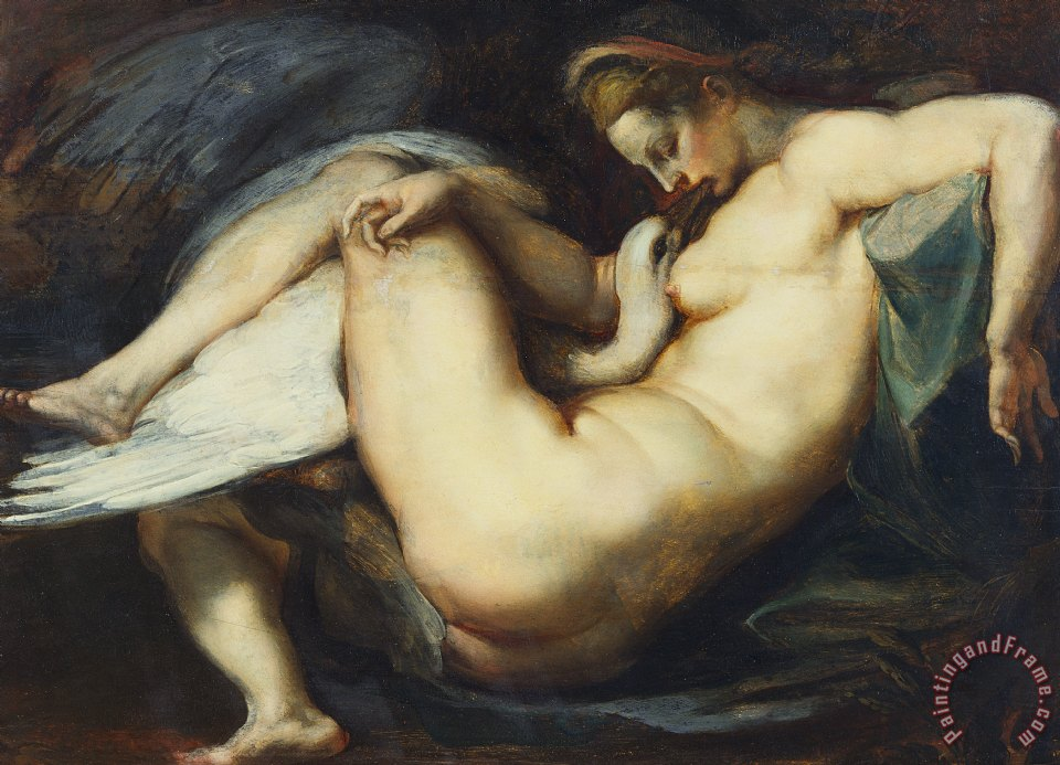 Leda And The Swan painting - Rubens Leda And The Swan Art Print