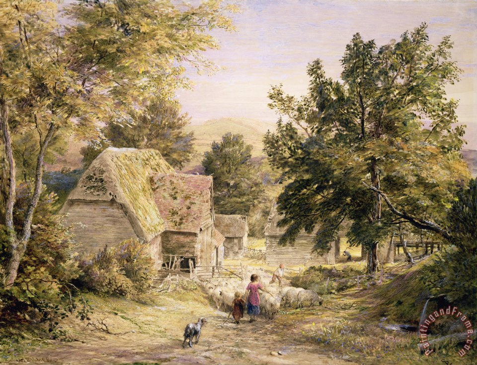 A Farmyard near Princes Risborough painting - Samuel Palmer A Farmyard near Princes Risborough Art Print